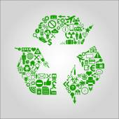 Recycling concept illustration - various media, technology, environment and industrial icons shaped into a recycle symbol. — Stock Vector