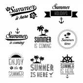 Set of summer holidays typography labels, signs and design elements - summer is here — Stock Vector