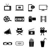Set of black flat icons related to cinema, films and movie industry — Stock Vector