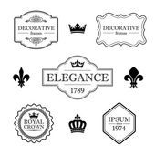 Set of calligraphic flourish design elements - fleur de lis, crowns, frames and borders - decorative vintage style — Stock Vector