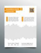 Business flyer template - sleek modern minimalistic design in orange — Stock Vector