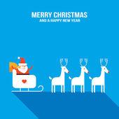 Cute Santa Claus with presents, sledge and deers — Cтоковый вектор
