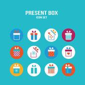 Present box icon set Gift for Christmas Birthday St Valentine's Day — Stockvector