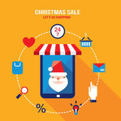 Tablet with Santa Claus on the screen and shopping web icons — Vector de stock