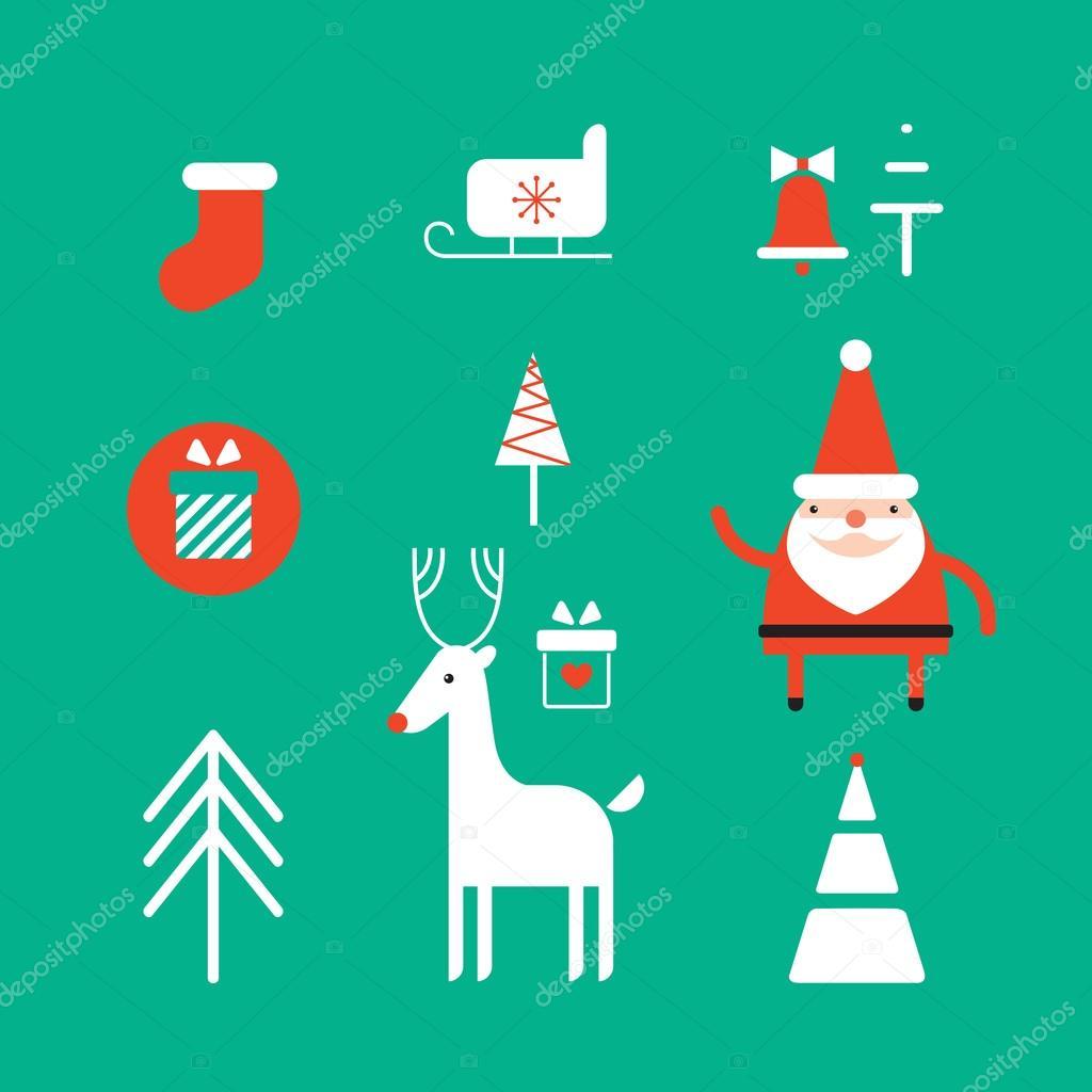 weihnachten und neujahr icon set stockvektor anttoniu. Black Bedroom Furniture Sets. Home Design Ideas