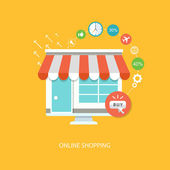 Online shopping flat illustration — Stockvektor