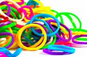 Close up of colorful elastic loom bands color full — Stock Photo