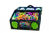Elastic loom bands color full in side box isolate on white backg — Stock Photo