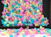 Close Up of pixel beads, plastic granules or plastic beads — Stok fotoğraf