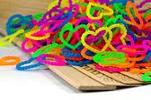 Close up of color full elastic love heart shape loom bands rainb — Stok fotoğraf