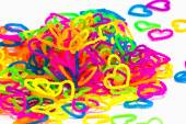 Close up of color full elastic love heart shape loom bands rainb — Stock Photo