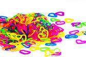 Color full elastic love heart shape loom bands rainbow color ful — Stock Photo