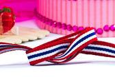 Ribbon with thai flag pattern  — Foto Stock