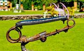 Old style bicycle saddle — Stock Photo