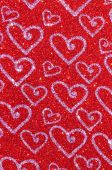 Red glitter with heart texture background — Stock Photo