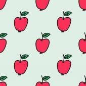 Seamless pattern with apple. Vector illustration. Hand-drawn background.  — Stock Vector
