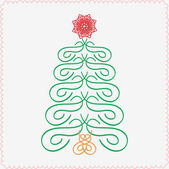 Hand-drawn christmas tree. Typographic and calligraphic. Vector illustration. — Vetor de Stock