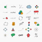 Simple colorful hand drawn icons. Business and start up. Vector illustration. Easy to paste to any background — Stock Vector