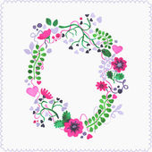 Watercolor floral frame or wreath. Greeting card.  — Stock Vector