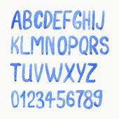 Vector illustration. Watercolor or aquarelle blue font.  — Stock Vector
