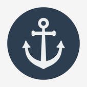 Pirate or sea icon, anchor. Flat design style modern vector illustration. — Stok Vektör