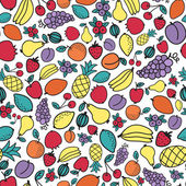 Seamless pattern with different fruits. Vector illustration — Stock Vector