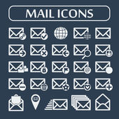 Set of twenty five flat vector mail icons. Vector illustration. — Stock Vector