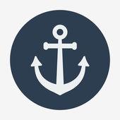 Pirate or sea icon, anchor. Flat design vector illustration. — Stock Vector