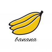 Hand drawn banana in doodle style. Vector illustration. — Vector de stock