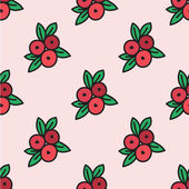 Seamless hand-drawn pattern with cranberry. Vector illustration. — Stockvektor