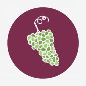 Hand-drawn icon with grape. Vector illustration. — Stock Vector
