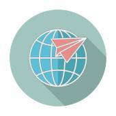 Flat icon with long shadow. Earth globe and plane. Vector illustration — Stock Vector
