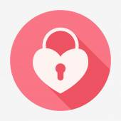 Single flat heart padlock icon. Vector illustration. — Stock Vector