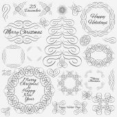 Vector design elements. Hand-drawn flourishes. Cristmas theme. Typographic and calligraphic. — Stock Vector