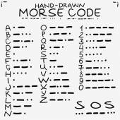 Hand-drawn doodle sketch. International Morse code isolated on white background and s.o.s. save our soules symbols. — Stock Vector