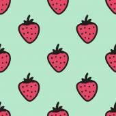 Nahtlose handgezeichnete Muster mit Erdbeere. Vektor-illustration. — Stockvektor