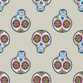 Seamless pattern with sugar skull. Vector illustration. Hand-drawn background. — Stock Vector