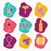 Set of wine making icons, vector illustration. Bottle, corkscrew,grape ripe, glass of wine, grape leaf, stain. — Stock Vector