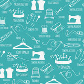 Seamless pattern with sewing and tailoring stuff. Vector illustration. — Wektor stockowy