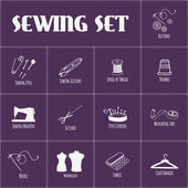 Set of sewing and tailoring icons. Vector illustration. — Stock Vector