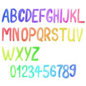 Colorful watercolor font, aquarelle. Vector illustration. Handdrawn alphabet with numbers. doodle letters. — Stock Vector
