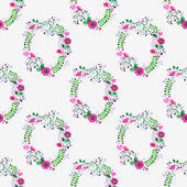 Seamless watercolor pattern with gorgeus flower wreaths on the white background, aquarelle.  Vector illustration. — Cтоковый вектор