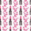 Seamless watercolor pattern with beauty items on the white background, aquarelle lipstick and kisses.  Vector illustration. Hand-drawn background. — Stock Vector #71098617