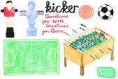 Set watercolor foosball  or kicker design elements, aquarelle. Vector illustration. — Stock Vector