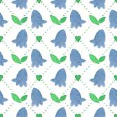 Seamless watercolor pattern with bluebells on the white background, aquarelle.  Vector illustration. Hand-drawn background. — Wektor stockowy