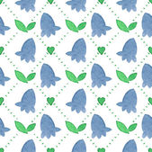 Seamless watercolor pattern with bluebells on the white background, aquarelle.  Vector illustration. Hand-drawn background. — Cтоковый вектор