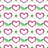 Seamless watercolor pattern with floral elements and hearts on the white background, aquarelle. Vector illustration. — Stock Vector