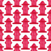 Watercolor seamless pattern with hydrant or fireplug on the white background, aquarelle pencil.  Vector illustration. Hand-drawn simple decorative element — Stock Vector