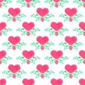 Aquarela sem costura padrão com coração vitoriana e floresce em fundo branco, aquarelle. Ilustração vetorial. — Vetor de Stock