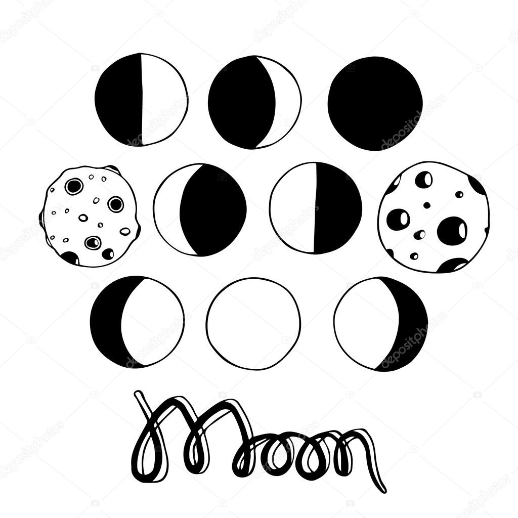 Cartoon moon and moon phases. Vector illustration. Hand-drawn original ...